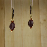Bamboo Center View - Koffee Kraze Brown Bean on Antique Gold Earwires (1435B)
