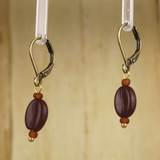 Bamboo Left View - Koffee Kraze Brown Bean on Antique Gold Earwires (1435B)