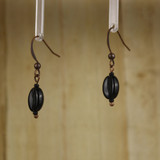 Bamboo Left View - Koffee Kraze Black Bean on Antique Copper Earwires (1435C)