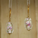 Bamboo Center View - Pink Czech Glass Flower on Gold Plate Earwires (1109)