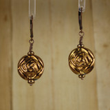 Bamboo Center View - Coppery Hollow Flower on Antique Copper Earwires (0726)
