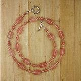 Bamboo View -Necklace - Cheery Cherry Quartz on Silver Plate (24 Inches) (1369)