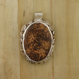 Bamboo View  Front - Pendant - Fine Silver Oval with Chrysanthemum Jasper (1450)