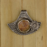 Bamboo View Front - Pendant - Fine Silver Eclipse Diamond with Brown Jasper (1453)