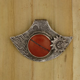 Bamboo View Front - Pendant - Fine Silver Eclipse Diamond with Red Jasper (1454)