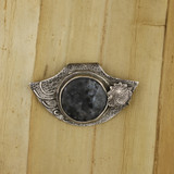 Bamboo View Front -Pendant - Fine Silver Eclipse Diamond with Labradorite in Gabbro (1458)
