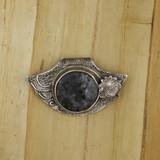 Bamboo View Front -Pendant - Fine Silver Eclipse Diamond with Labradorite in Gabbro (1458)