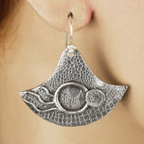 Mannequin View side A - Earrings - Collection of Fine Silver Eclipse Diamond with no stone - A (1455A)