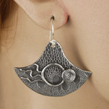 Mannequin View side A - Earrings - Collection of Fine Silver Eclipse Diamond with no stone - B (1455B)