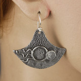 Mannequin View side A - Earrings - Collection of Fine Silver Eclipse Diamond with no stone - C (1455C)