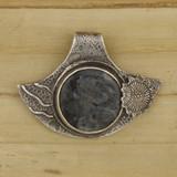 Bamboo View Front - Pendant - Fine Silver Eclipse Diamond with Labradorite in Gabbro B (1460)
