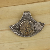 Bamboo View Front - Pendant - Fine Silver Eclipse Diamond with Paintbrush Jasper (1461)