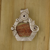 Bamboo View Front - Fine Silver Vase Pendant with Jasper (1464)