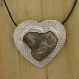 Bamboo View - Fine Silver and Agate Heart Pendant (1524)