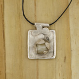 Bamboo View - Fine Silver and Agate Honeybee Pendant (1527)