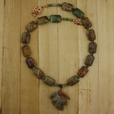 Bamboo View - Multicolored Stone Leaf Pendant and Green Opal Copper (16 inches) (1528)
