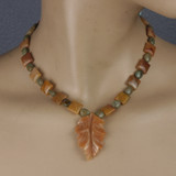 Mannequin View - Peach Aventurine Leaf Pendant , Agate, and Green Opal on Copper (18 inches) (1529)
