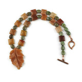 White View - Peach Aventurine Leaf Pendant , Agate, and Green Opal on Copper (18 inches) (1529)