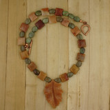 Bamboo View - Peach Aventurine Leaf Pendant , Agate, and Green Opal on Copper (18 inches) (1529)