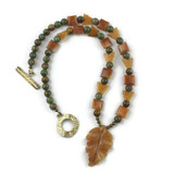 White View - Peach Aventurine Leaf and butterflies , Agate, and Green Opal on Brass (21 inches) (1530)