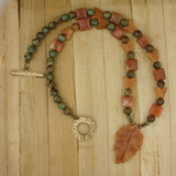 Bamboo View - Peach Aventurine Leaf and butterflies , Agate, and Green Opal on Brass (21 inches) (1530)