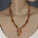 Mannequin View - Peach Aventurine Leaf and butterflies , Agate, and Green Opal on Brass (21 inches) (1530)