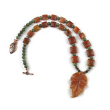 White View - Peach Aventurine Leaf and Green Opal on Copper (18 inches) (1531)