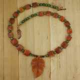 Bamboo View - Peach Aventurine Leaf and Green Opal on Copper (18 inches) (1531)