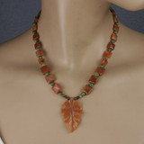 Mannequin View - Peach Aventurine Leaf and Green Opal on Copper (18 inches) (1531)