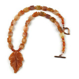 White View - Peach Aventurine Leaf and Agate on Copper (18 inches) (1532)