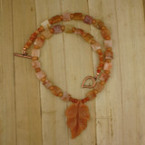 Bamboo View - Peach Aventurine Leaf and Agate on Copper (18 inches) (1532)