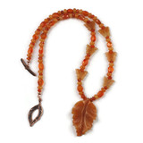 White View - Peach Aventurine Leaf and Carnelian on Copper (20 inches) (1533)