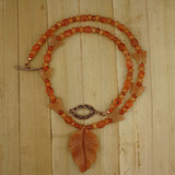 Bamboo View - Peach Aventurine Leaf and Carnelian on Copper (20 inches) (1533)