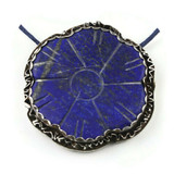 White  Front View - Fine Silver with Lapis Lazuli Flower (1364)