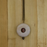 Bamboo View - Marble Donut with Czech Glass Swirl on Brass (1496)