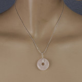 Mannequin View - Rose Quartz Donut on Silver Plate - A (1521A)