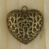 Bamboo View - Pendant - Large Brass Heart (1515)