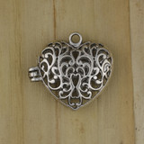 Bamboo View - Pendant - Pewter Hinged Heart Locket with Magnetic Closure (1516)