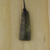 Bamboo Side 1  View - Pendant - Stone Wedge A on Black Linen Cord (1488A)