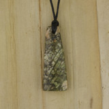 Bamboo Side 1 View - Pendant - Stone Wedge B on Black Linen Cord (1488B)
