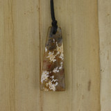 Bamboo Side 1 View - Pendant - Stone Wedge C on Black Linen Cord (1488C)