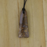 Bamboo Side 1 View - Pendant - Stone Wedge D on Black Linen Cord (1488D)