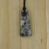 Bamboo Side 1 View - Pendant - Stone Wedge E on Black Linen Cord (1488E)