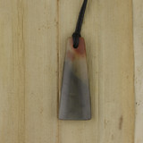 Bamboo Side 1 View - Pendant - Stone Wedge G on Black Linen Cord (1488G)