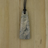 Bamboo Side 1 View - Pendant - Stone Wedge I on Black Linen Cord (1488I)
