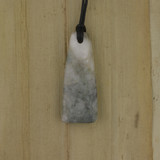 Bamboo Side 1 View - Pendant - Stone Wedge J on Black Linen Cord (1488J)