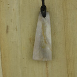 Bamboo Side 1 View - Pendant - Stone Wedge K on Black Linen Cord (1488K)