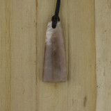Bamboo Side 1 View - Pendant - Stone Wedge L on Black Linen Cord (1488L)