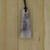 Bamboo Side 1 View - Pendant - Stone Wedge M on Black Linen Cord (1488M)