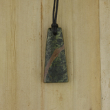 Bamboo Side 1 View - Pendant - Stone Wedge N on Black Linen Cord (1488L)